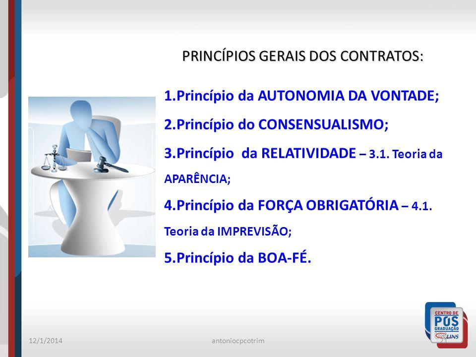 PRINCÍPIOS GERAIS DOS CONTRATOS: Princípio da AUTONOMIA DA VONTADE;