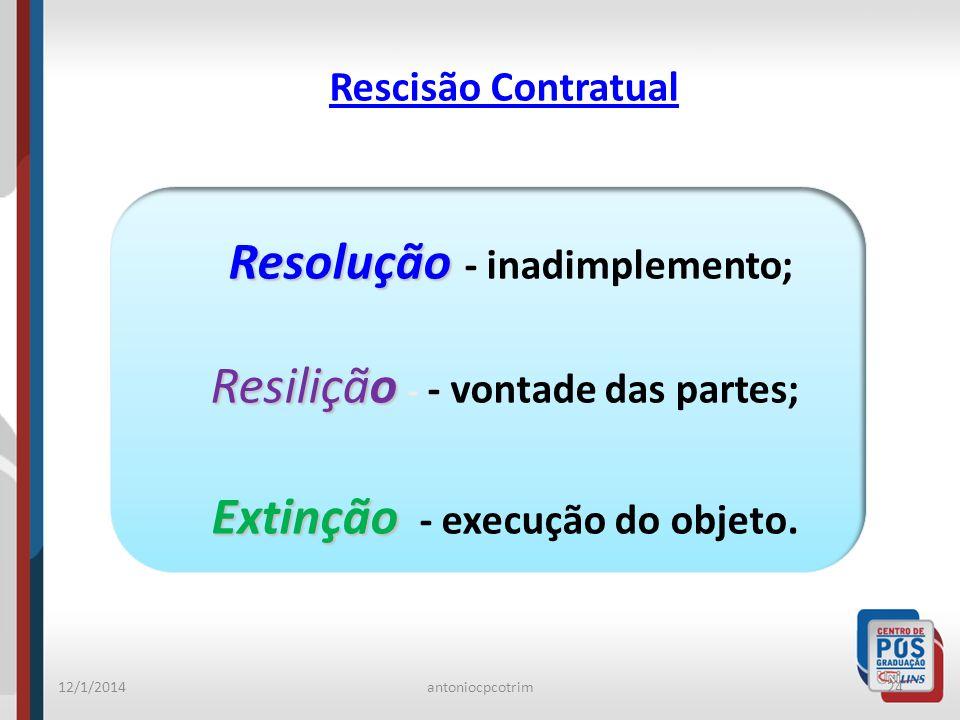 Resolução - inadimplemento; Extinção - execução do objeto.