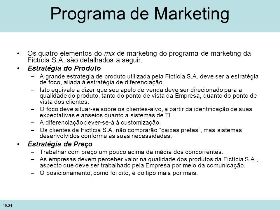 Programa de MarketingOs quatro elementos do mix de marketing do programa de marketing da Fictícia S.A. são detalhados a seguir.