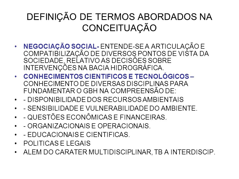 DEFINIÇÃO DE TERMOS ABORDADOS NA CONCEITUAÇÃO