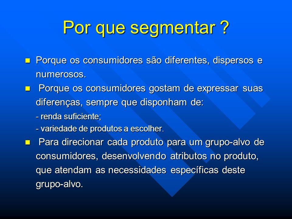 Por que segmentar Porque os consumidores são diferentes, dispersos e