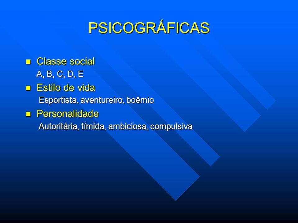 PSICOGRÁFICAS Classe social Estilo de vida Personalidade A, B, C, D, E