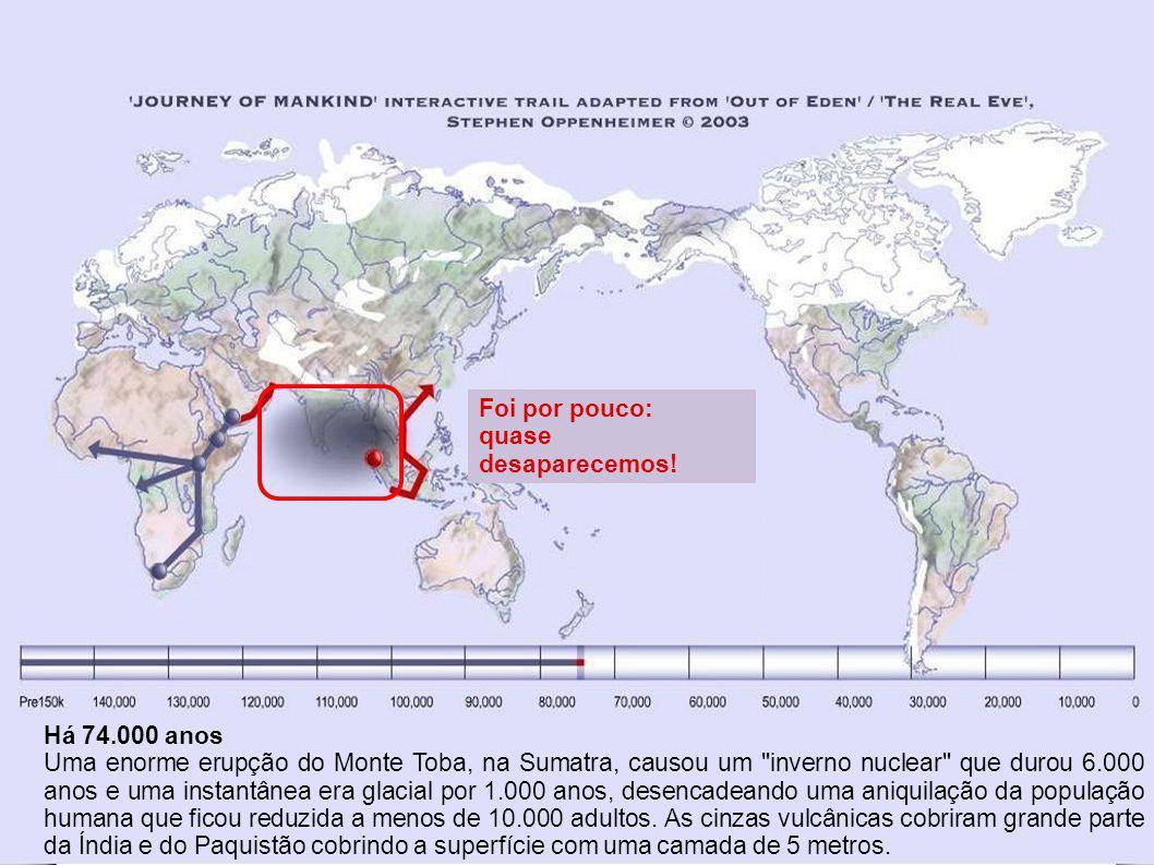 Foi por pouco: quase desaparecemos! Há 74.000 anos.