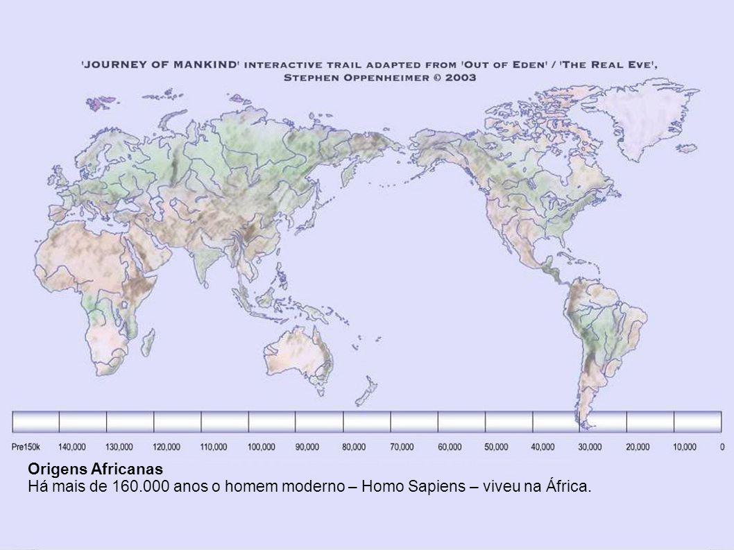 Origens Africanas Há mais de 160.000 anos o homem moderno – Homo Sapiens – viveu na África.