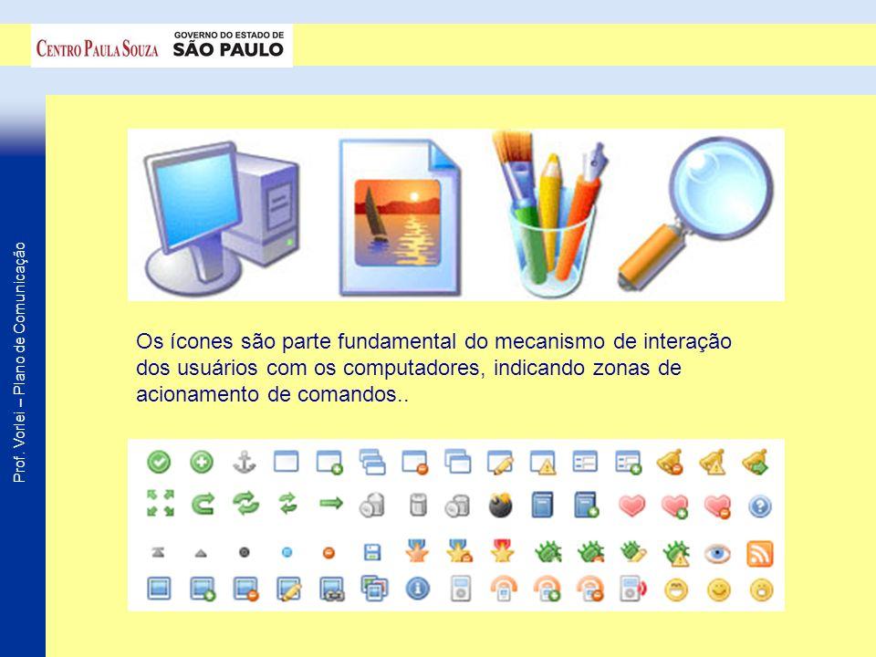 Os ícones são parte fundamental do mecanismo de interação dos usuários com os computadores, indicando zonas de acionamento de comandos..