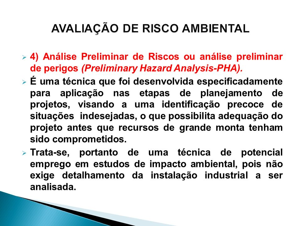 AVALIAÇÃO DE RISCO AMBIENTAL