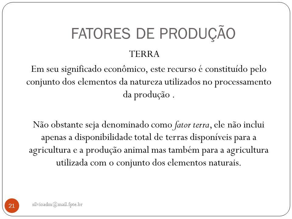 FATORES DE PRODUÇÃO