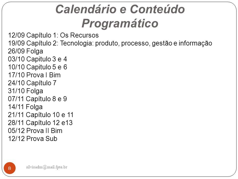 Calendário e Conteúdo Programático