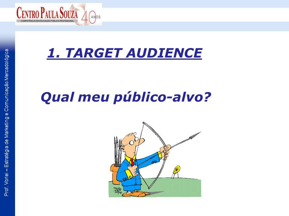 1. TARGET AUDIENCE Qual meu público-alvo