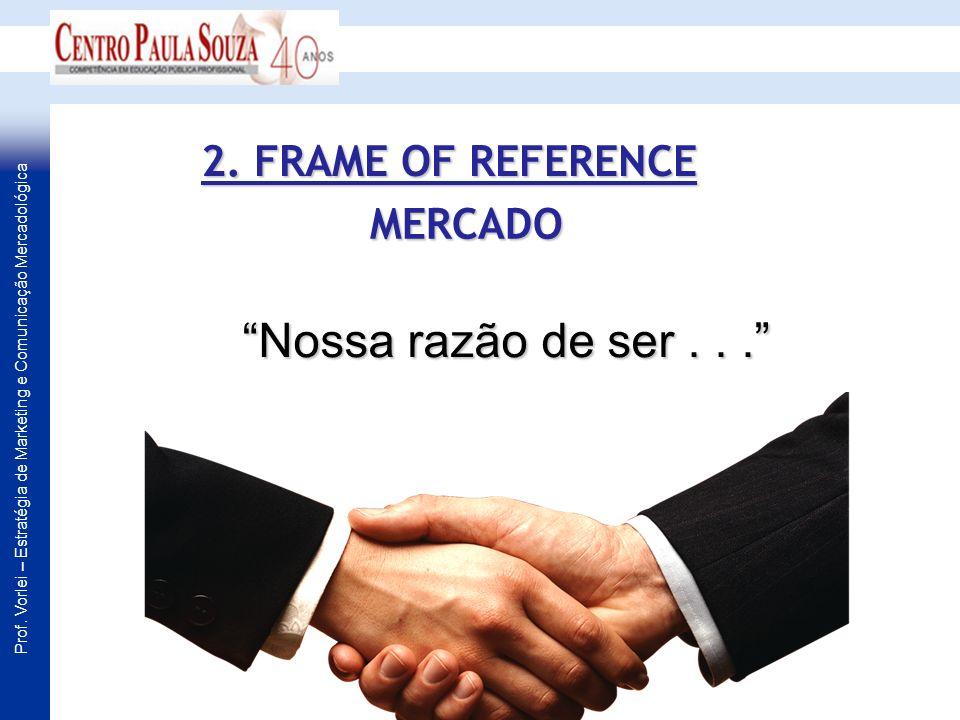 2. FRAME OF REFERENCE MERCADO Nossa razão de ser . . .