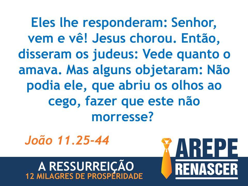 Eles lhe responderam: Senhor, vem e vê. Jesus chorou
