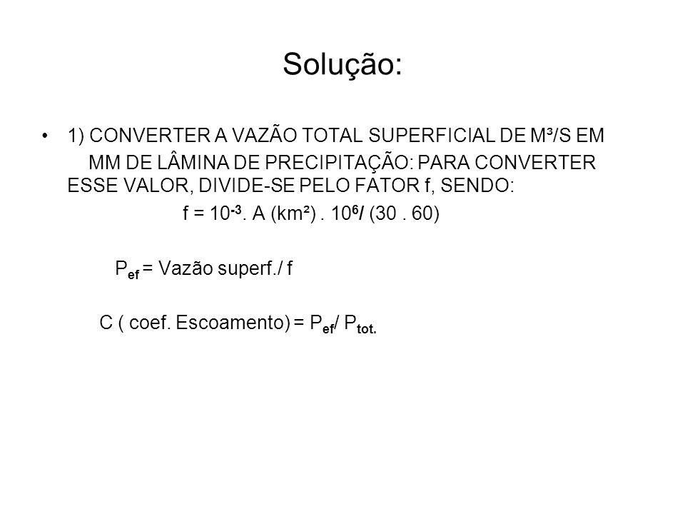 Solução: 1) CONVERTER A VAZÃO TOTAL SUPERFICIAL DE M³/S EM