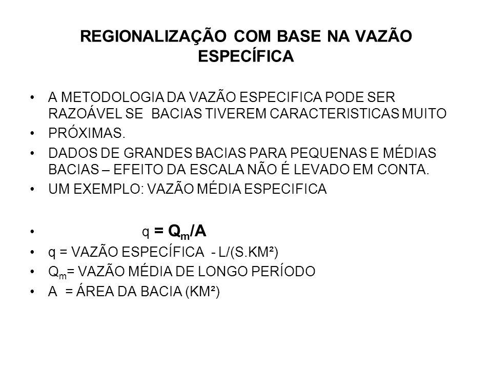 REGIONALIZAÇÃO COM BASE NA VAZÃO ESPECÍFICA