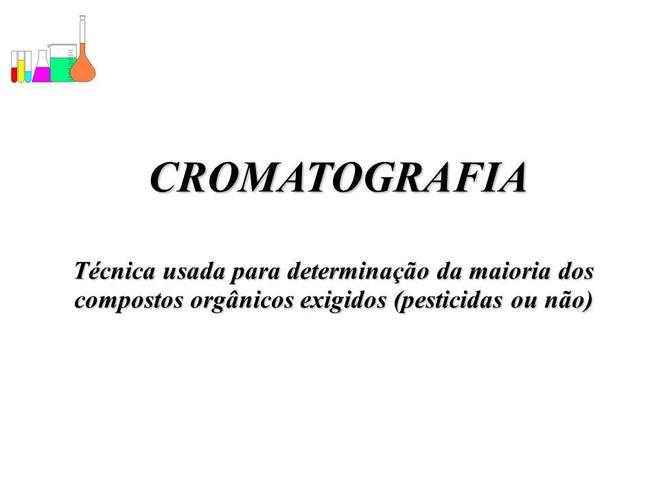 CROMATOGRAFIA Técnica usada para determinação da maioria dos compostos orgânicos exigidos (pesticidas ou não)