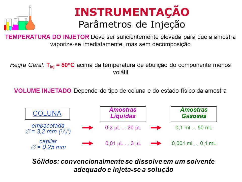 INSTRUMENTAÇÃO Parâmetros de Injeção COLUNA