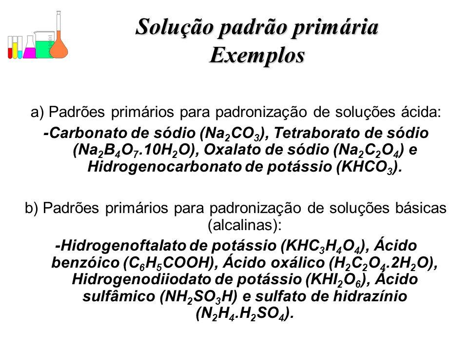Solução padrão primária Exemplos