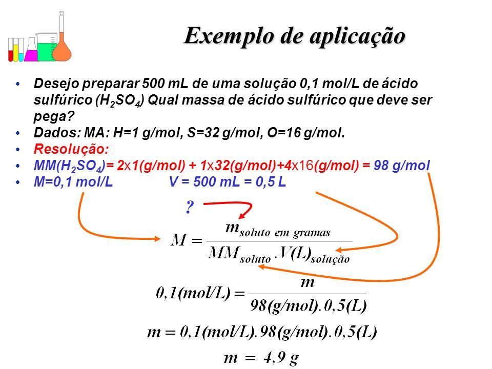 Exemplo de aplicação Desejo preparar 500 mL de uma solução 0,1 mol/L de ácido sulfúrico (H2SO4) Qual massa de ácido sulfúrico que deve ser pega