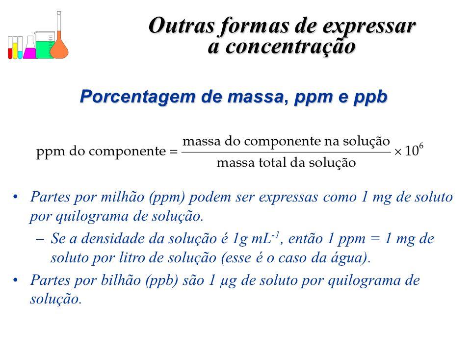 Outras formas de expressar Porcentagem de massa, ppm e ppb