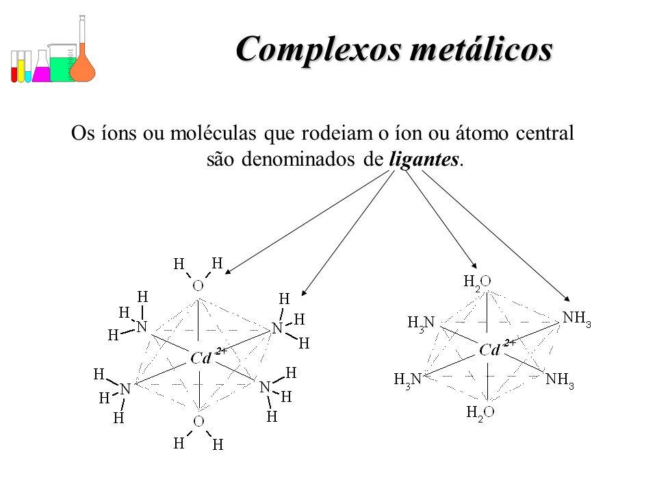 Complexos metálicos Os íons ou moléculas que rodeiam o íon ou átomo central são denominados de ligantes.