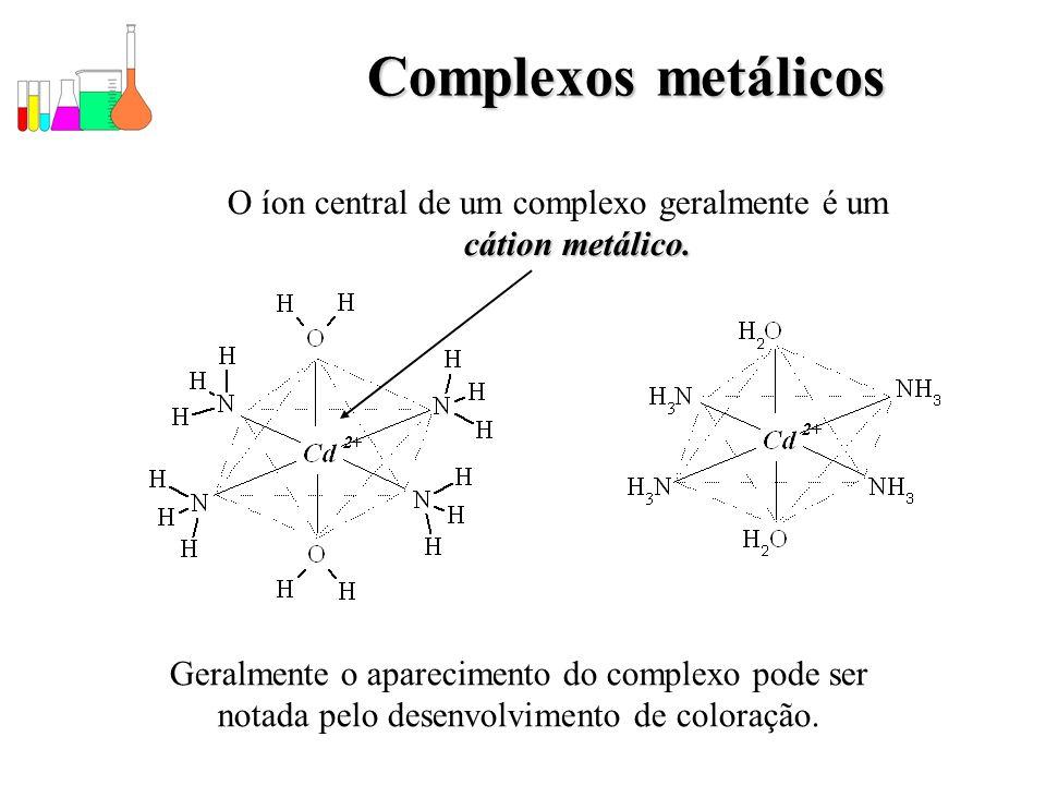 O íon central de um complexo geralmente é um cátion metálico.