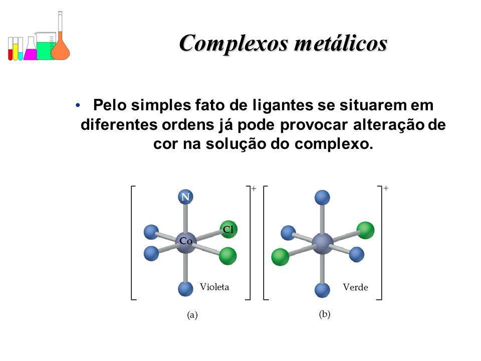 Complexos metálicos Pelo simples fato de ligantes se situarem em diferentes ordens já pode provocar alteração de cor na solução do complexo.