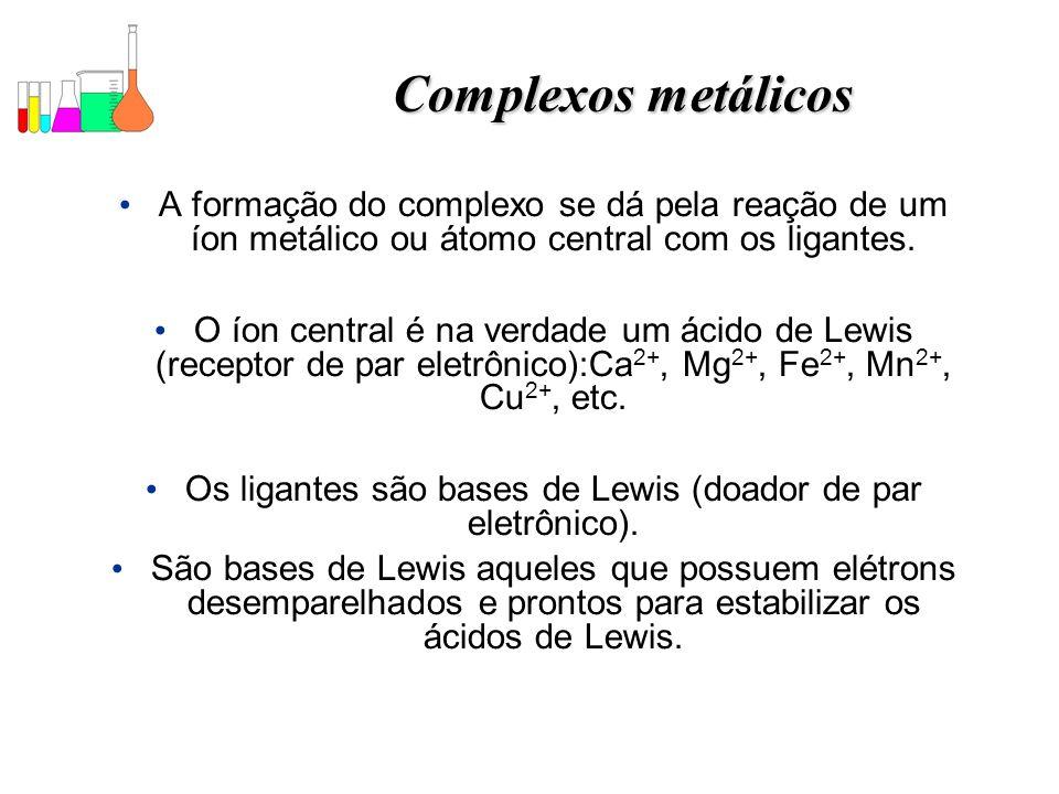 Os ligantes são bases de Lewis (doador de par eletrônico).