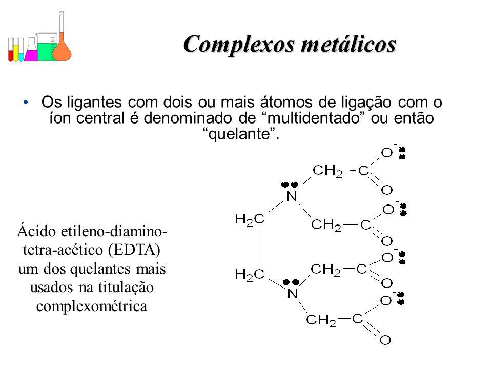 Complexos metálicos Os ligantes com dois ou mais átomos de ligação com o íon central é denominado de multidentado ou então quelante .