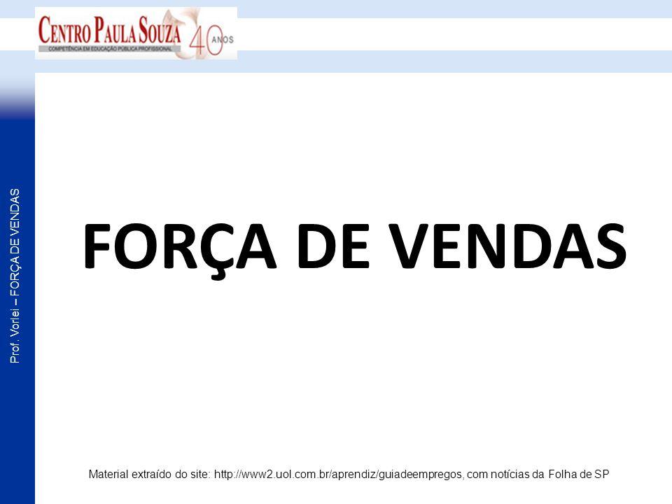 FORÇA DE VENDAS Material extraído do site: http://www2.uol.com.br/aprendiz/guiadeempregos, com notícias da Folha de SP.