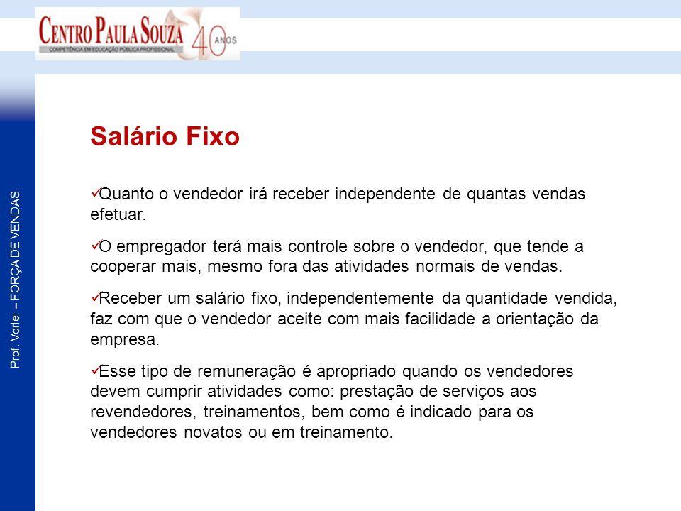 Salário FixoQuanto o vendedor irá receber independente de quantas vendas efetuar.