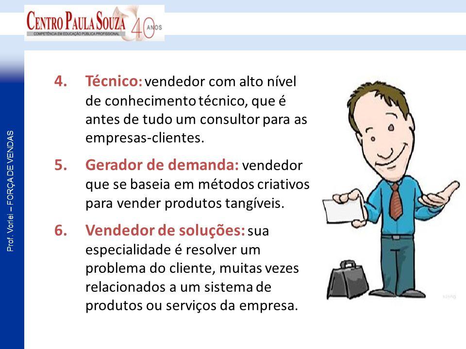 Técnico: vendedor com alto nível de conhecimento técnico, que é antes de tudo um consultor para as empresas-clientes.