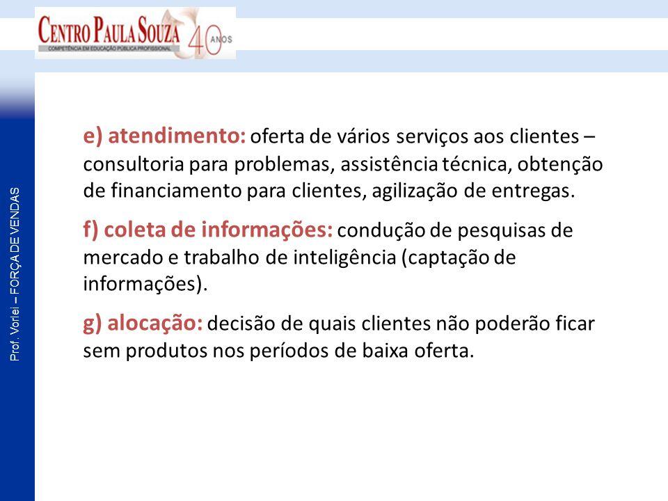 e) atendimento: oferta de vários serviços aos clientes – consultoria para problemas, assistência técnica, obtenção de financiamento para clientes, agilização de entregas.