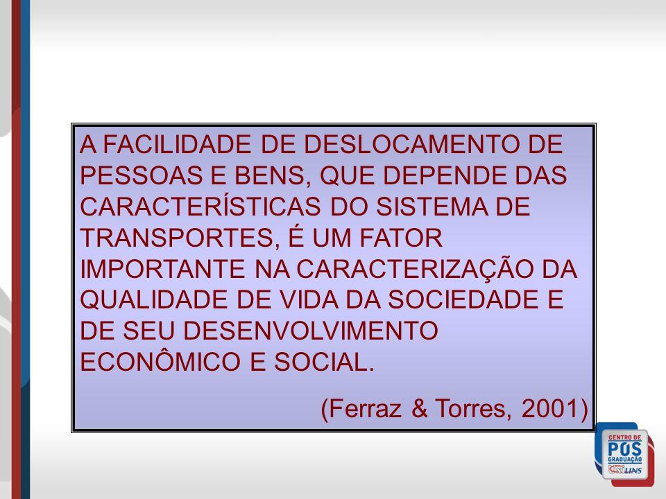 A FACILIDADE DE DESLOCAMENTO DE PESSOAS E BENS, QUE DEPENDE DAS CARACTERÍSTICAS DO SISTEMA DE TRANSPORTES, É UM FATOR IMPORTANTE NA CARACTERIZAÇÃO DA QUALIDADE DE VIDA DA SOCIEDADE E DE SEU DESENVOLVIMENTO ECONÔMICO E SOCIAL.