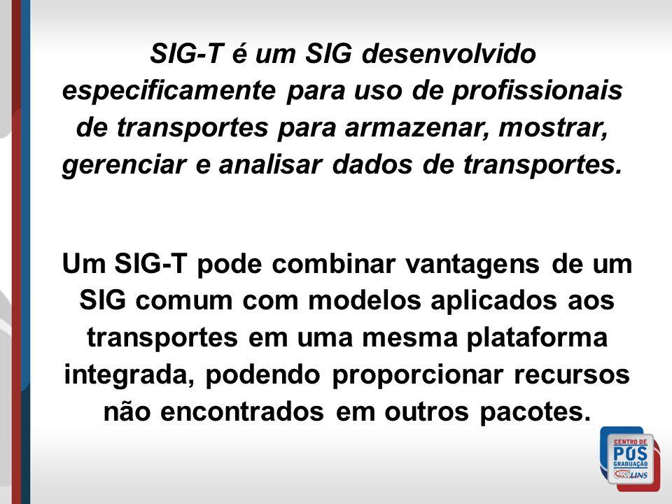 SIG-T é um SIG desenvolvido especificamente para uso de profissionais de transportes para armazenar, mostrar, gerenciar e analisar dados de transportes.