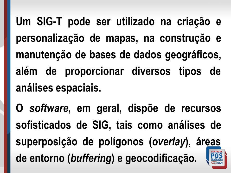 Um SIG-T pode ser utilizado na criação e personalização de mapas, na construção e manutenção de bases de dados geográficos, além de proporcionar diversos tipos de análises espaciais.