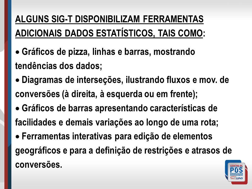 ALGUNS SIG-T DISPONIBILIZAM FERRAMENTAS ADICIONAIS DADOS ESTATÍSTICOS, TAIS COMO: