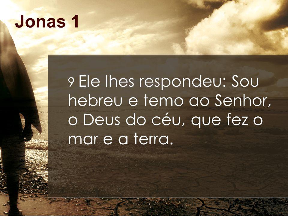 Jonas 1 9 Ele lhes respondeu: Sou hebreu e temo ao Senhor, o Deus do céu, que fez o mar e a terra.