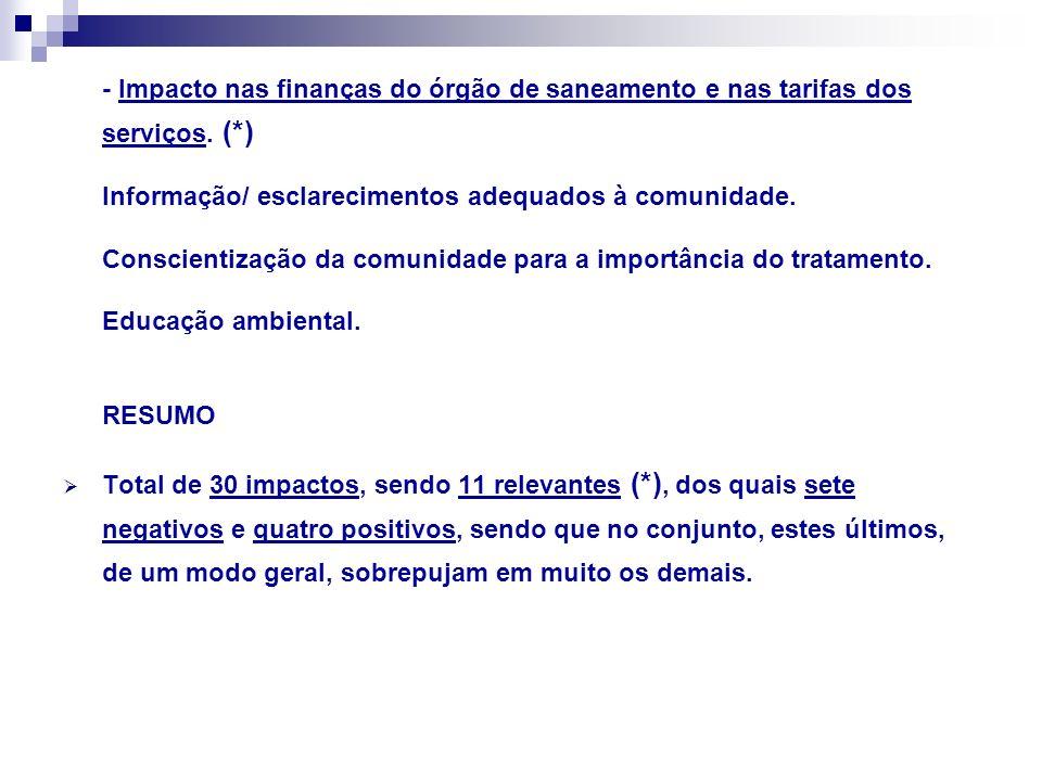 - Impacto nas finanças do órgão de saneamento e nas tarifas dos serviços. (*)