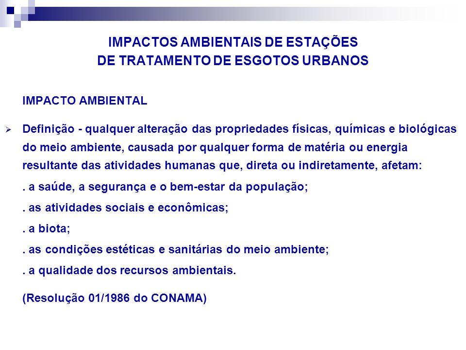 IMPACTOS AMBIENTAIS DE ESTAÇÕES DE TRATAMENTO DE ESGOTOS URBANOS