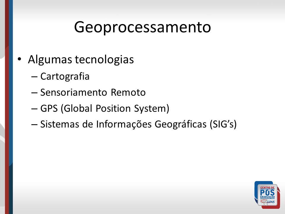 Geoprocessamento Algumas tecnologias Cartografia Sensoriamento Remoto