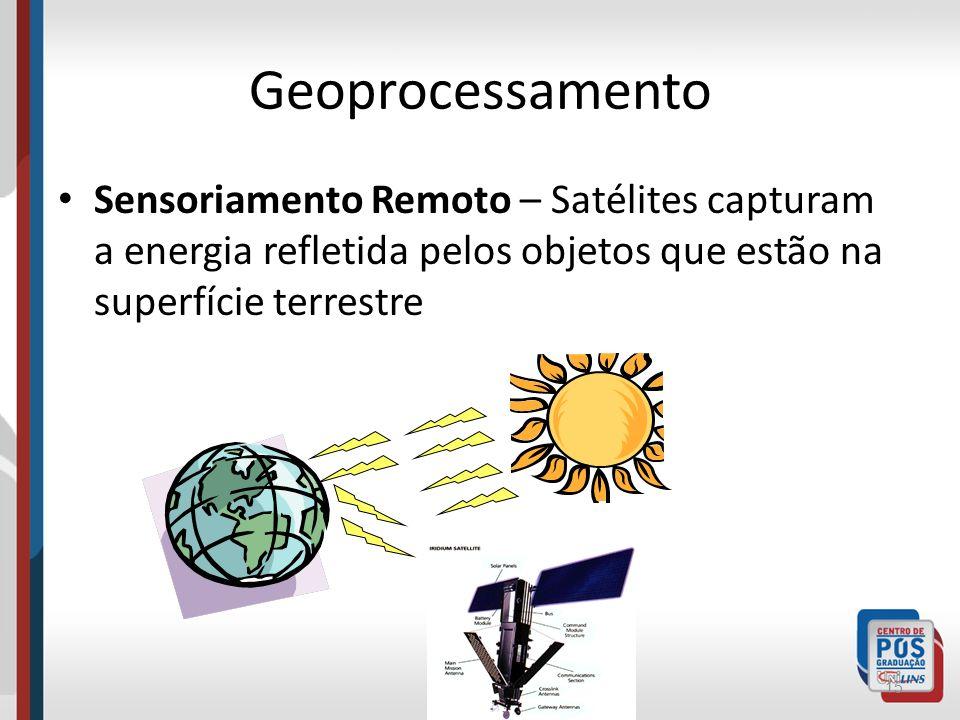 GeoprocessamentoSensoriamento Remoto – Satélites capturam a energia refletida pelos objetos que estão na superfície terrestre.