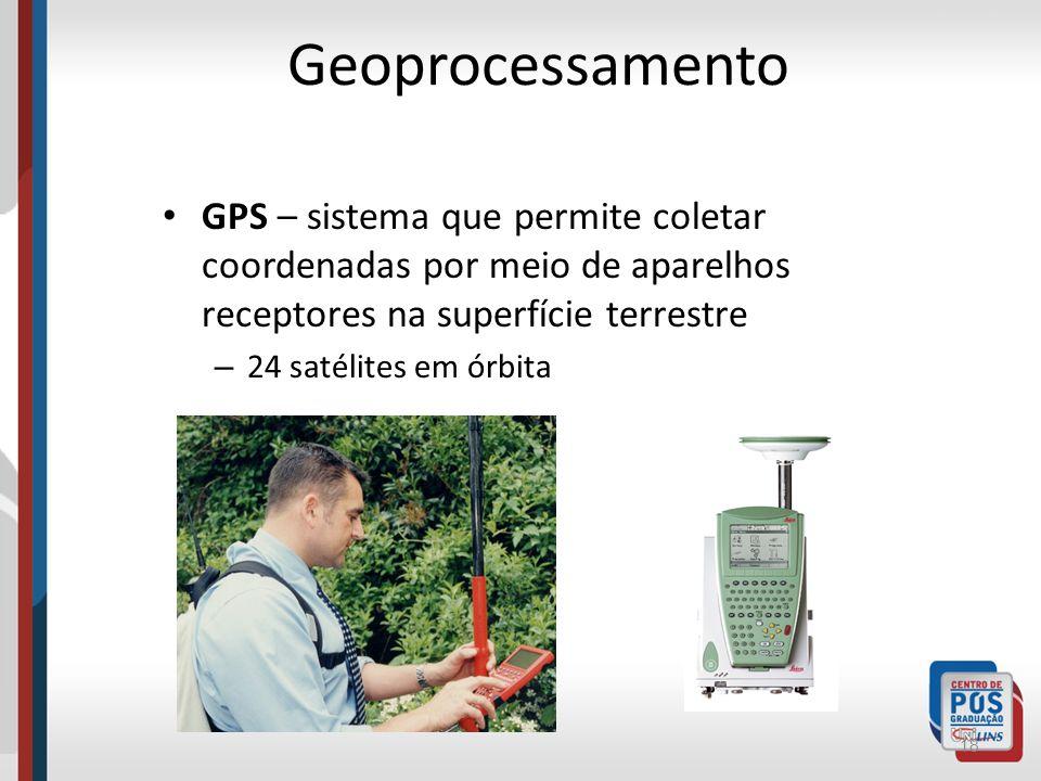 GeoprocessamentoGPS – sistema que permite coletar coordenadas por meio de aparelhos receptores na superfície terrestre.