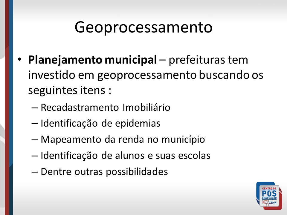 GeoprocessamentoPlanejamento municipal – prefeituras tem investido em geoprocessamento buscando os seguintes itens :