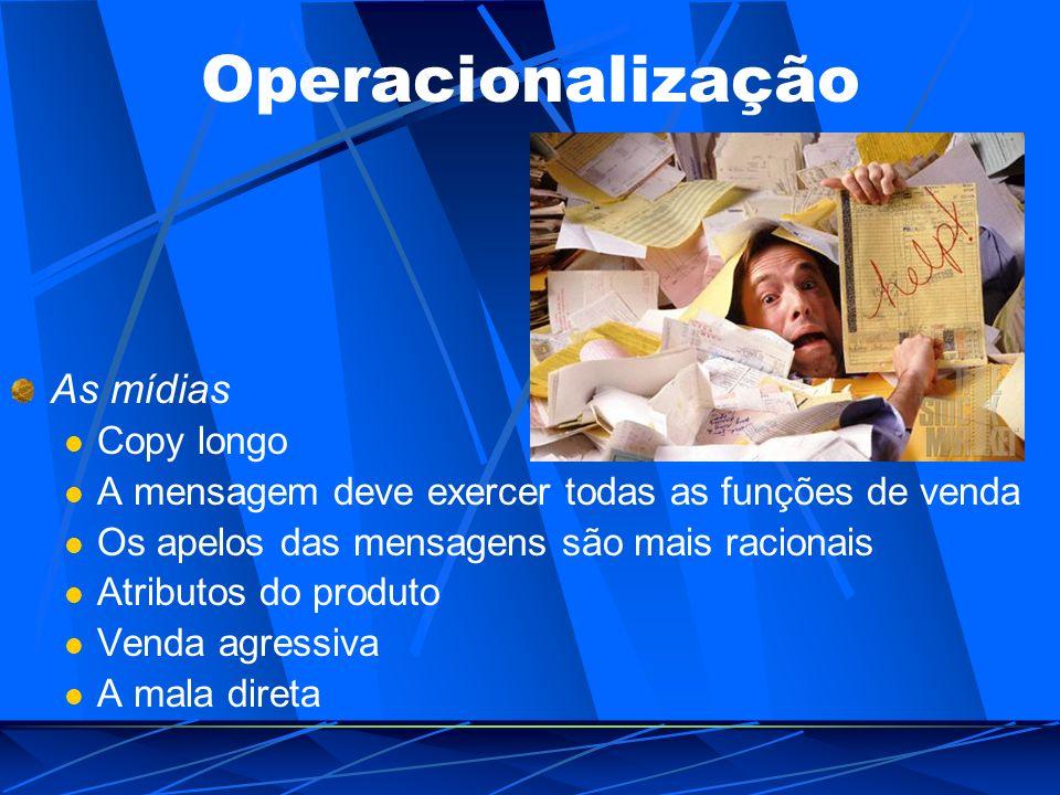 Operacionalização As mídias Copy longo