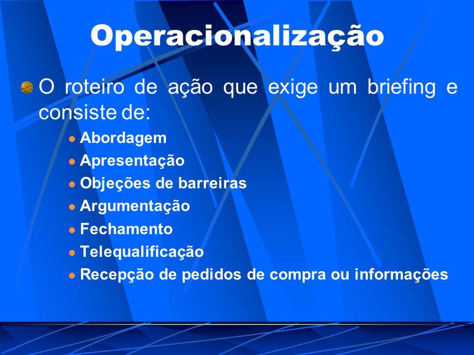 Operacionalização O roteiro de ação que exige um briefing e consiste de: Abordagem. Apresentação.
