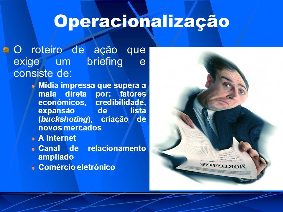 Operacionalização O roteiro de ação que exige um briefing e consiste de: