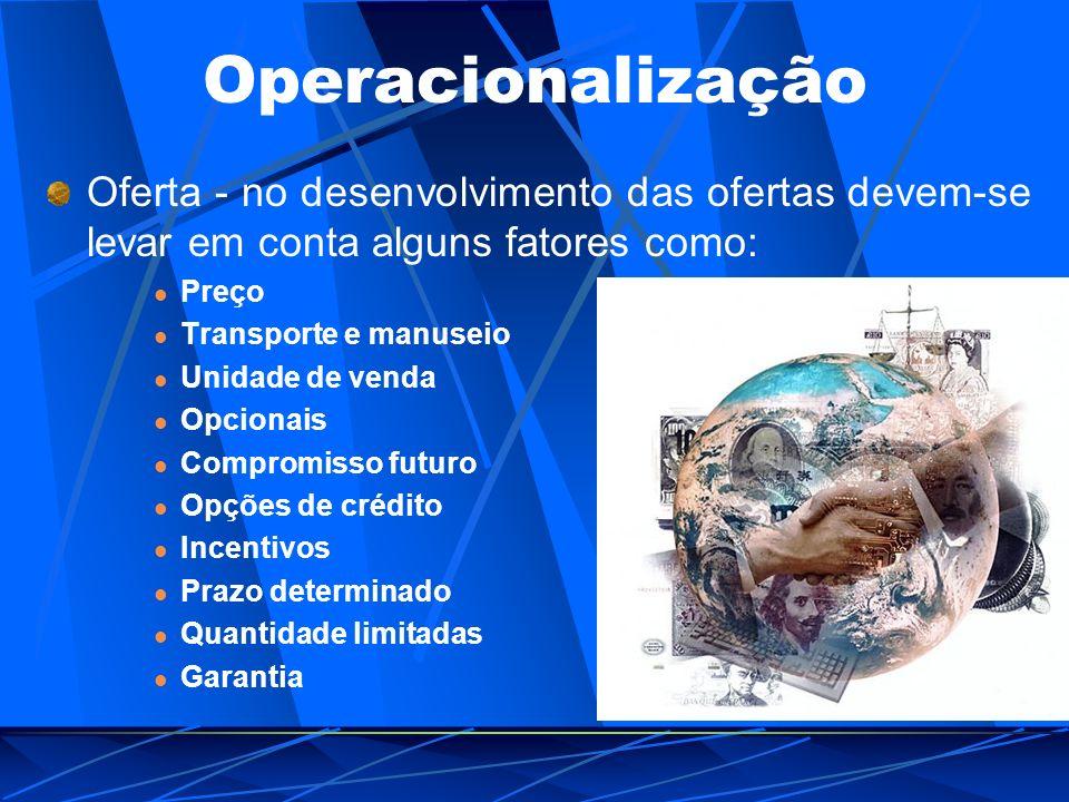 Operacionalização Oferta - no desenvolvimento das ofertas devem-se levar em conta alguns fatores como: