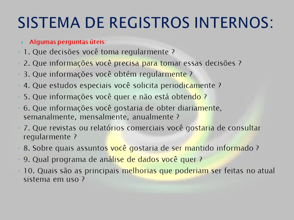 SISTEMA DE REGISTROS INTERNOS: