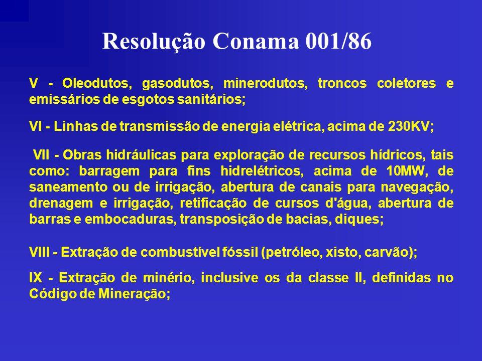Resolução Conama 001/86 V - Oleodutos, gasodutos, minerodutos, troncos coletores e emissários de esgotos sanitários;