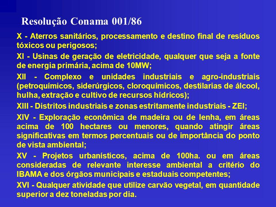 Resolução Conama 001/86X - Aterros sanitários, processamento e destino final de resíduos tóxicos ou perigosos;