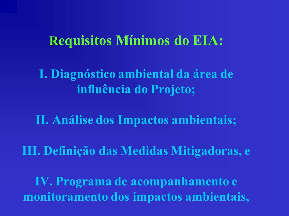Requisitos Mínimos do EIA: I